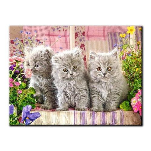 5D Diamond Painting Three Gray Kittens Kit