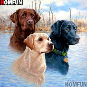 5D Diamond Painting Three Hunting Dogs Kit