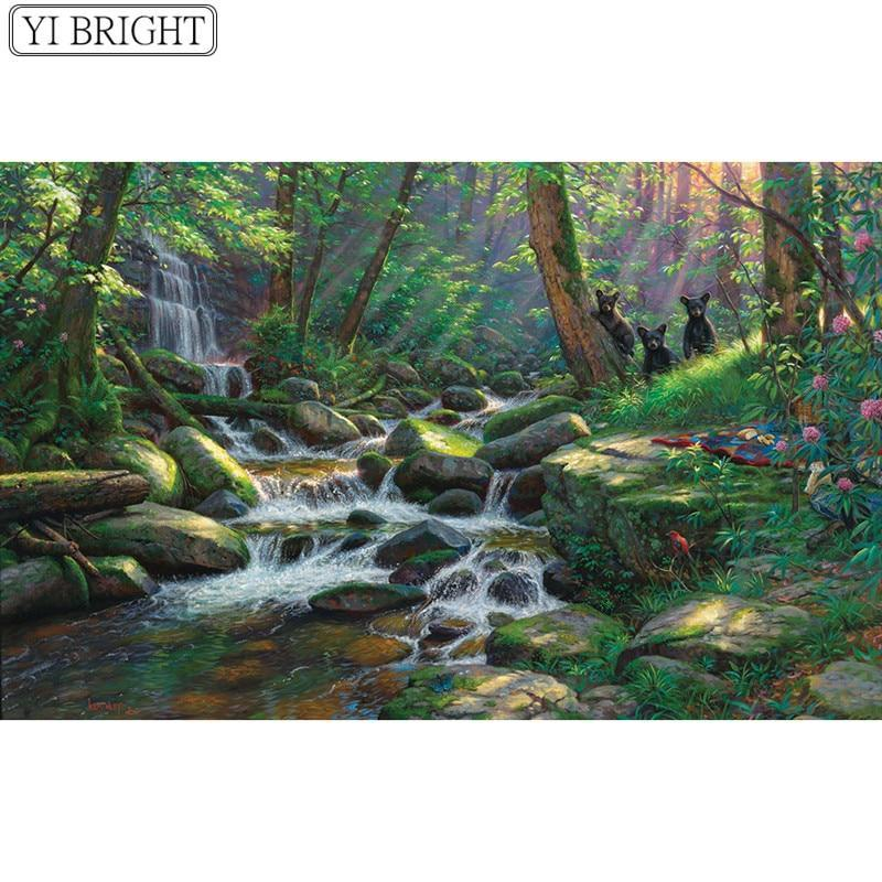 5D Diamond Painting Three Little Bears by the Stream Kit
