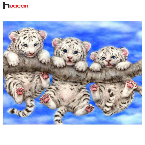 5D Diamond Painting Three Little White Tiger Cubs