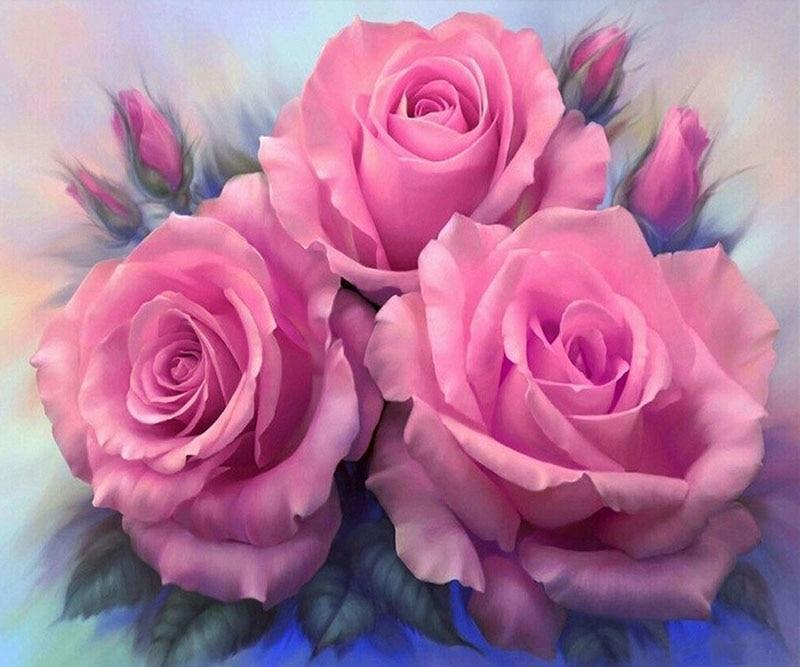 5D Diamond Painting Three Pink Roses Kit