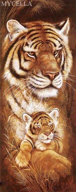 5D Diamond Painting Tiger and Her Cub Kit