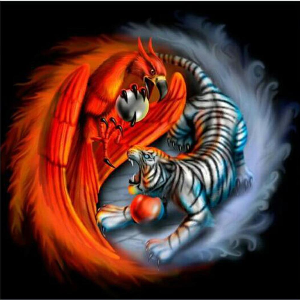 5D Diamond Painting Tiger and the Phoenix Yin-Yang Kit