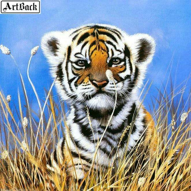 5D Diamond Painting Tiger Cub in the Tall Grass Kit