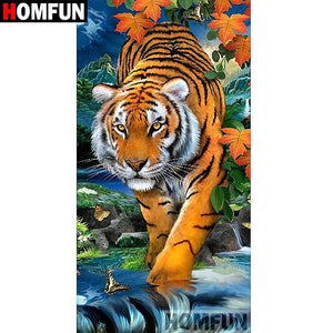 5D Diamond Painting Tiger in the Stream Kit