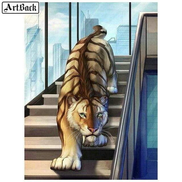 5D Diamond Painting Tiger on the Stairs Kit