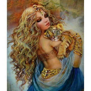 5D Diamond Painting Tiger Woman Kit