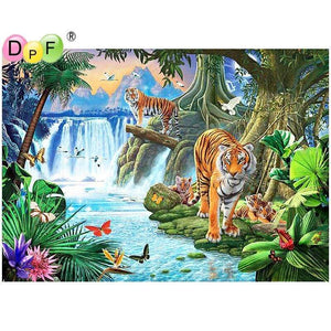 5D Diamond Painting Tigers Along the River Kit
