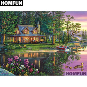 5D Diamond Painting Tranquil Lakeside Cabin Kit
