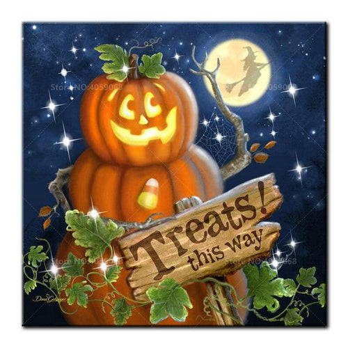 5D Diamond Painting Treats this Way Halloween Kit
