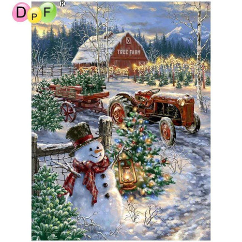 5D Diamond Painting Tree Farm Snowman Kit