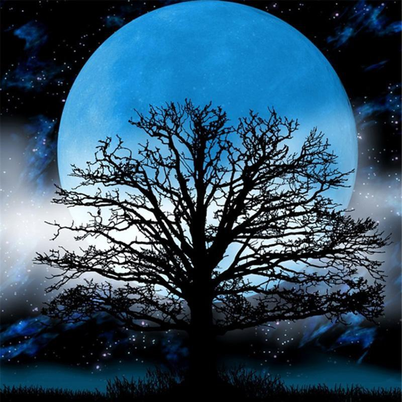 5D Diamond Painting Tree in a Blue Moon Kit