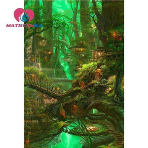 5D Diamond Painting Tree Village Kit