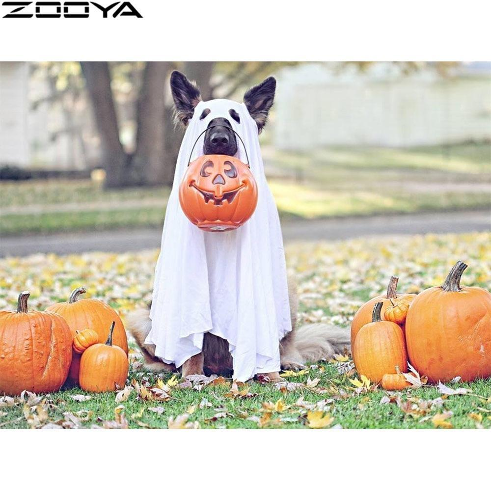 5D Diamond Painting Trick or Treat Ghost Dog Kit