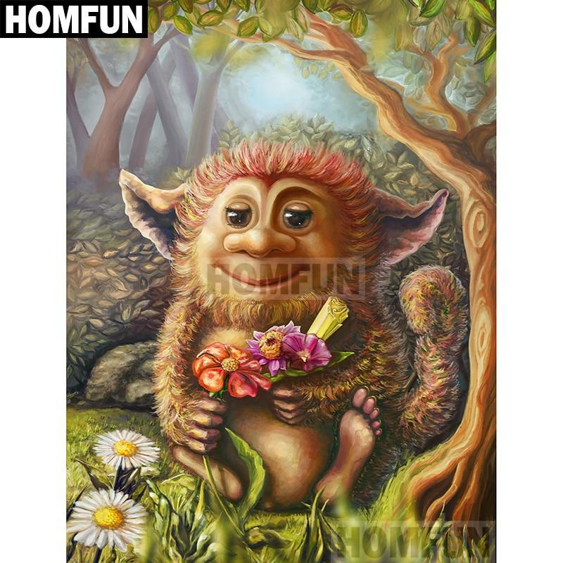 5D Diamond Painting Troll with Flowers Kit