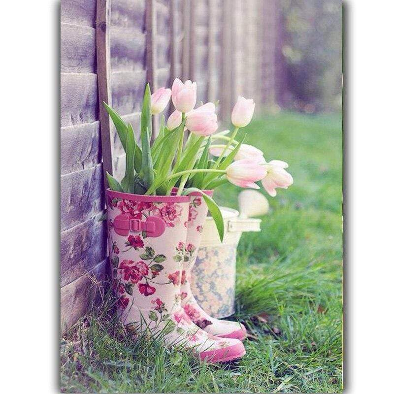 5D Diamond Painting Tulips in Boots Kit