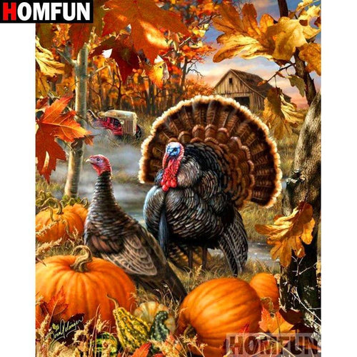 5D Diamond Painting Turkeys in the Pumpkins Kit