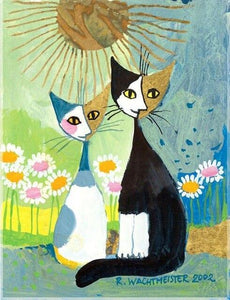 5D Diamond Painting Two Abstract Cats in the Daisies Kit