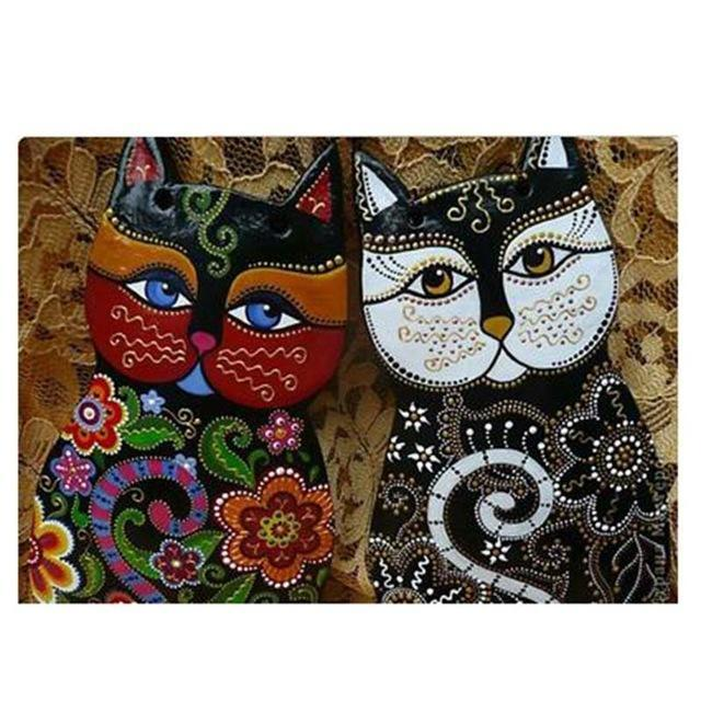 5D Diamond Painting Two Abstract Cats Kit