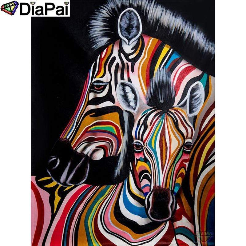 5D Diamond Painting Two Abstract Colored Zebras Kit