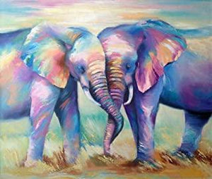 5D Diamond Painting Two Abstract Elephants Kit