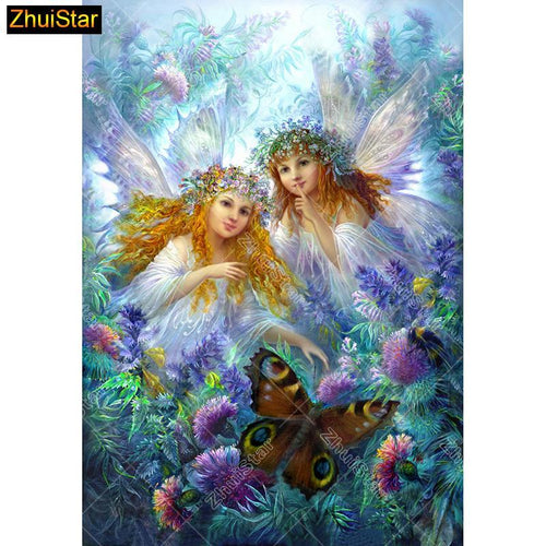 5D Diamond Painting Two Angels and a Butterfly Kit