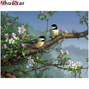 5D Diamond Painting Two Birds on a Branch Kit