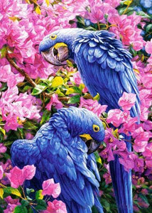 5D Diamond Painting Two Blue Parrots