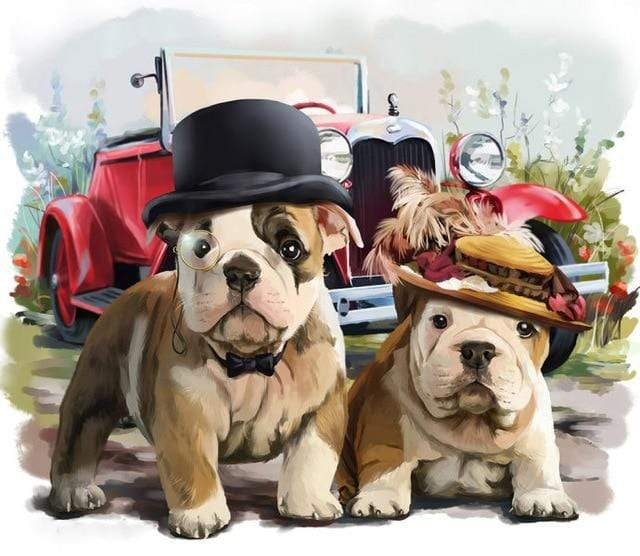 5D Diamond Painting Two Bulldogs in Hats Kit