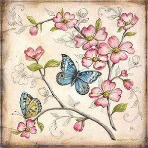 5D Diamond Painting Two Butterflies in Pink Flowers Kit