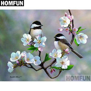 5D Diamond Painting Two Chickadees and Blossoms Kit