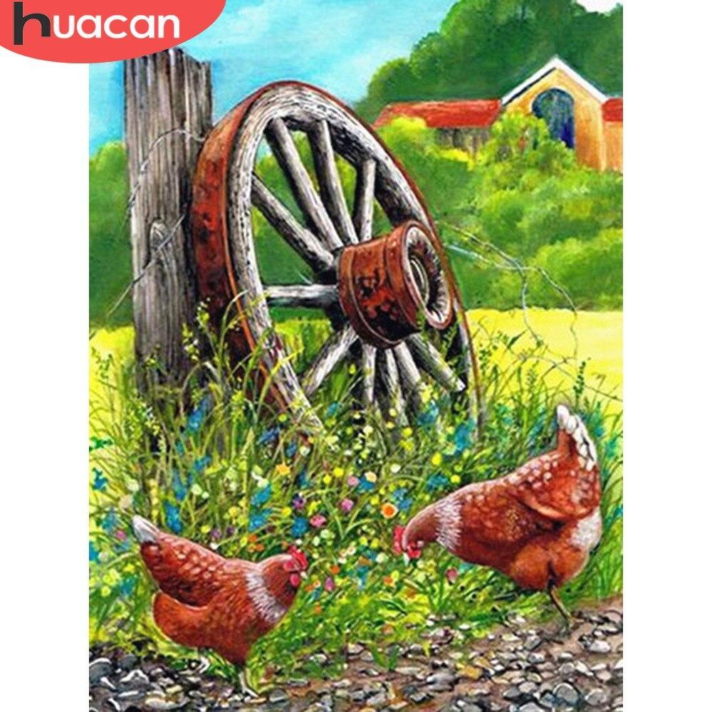 5D Diamond Painting Two Chicken Wagon Wheel Kit
