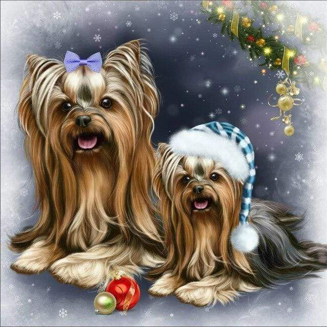 5D Diamond Painting Two Christmas Yorkies Kit
