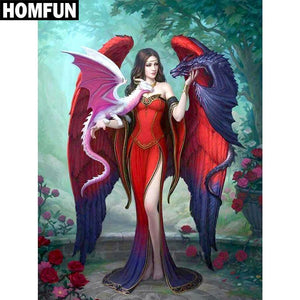 5D Diamond Painting Two Dragon Angel Kit