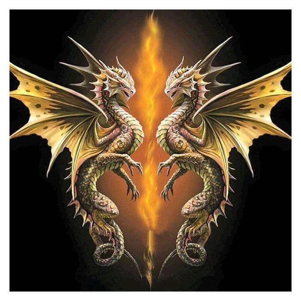 5d Diamond Painting Two Dragons And Fire Kit