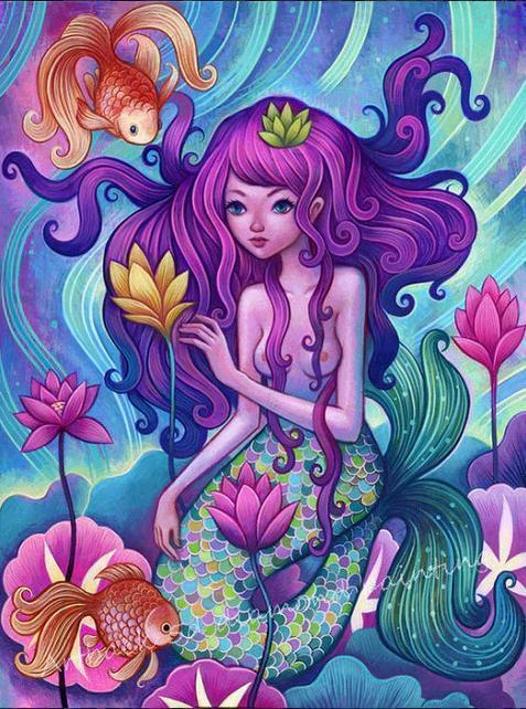 5D Diamond Painting Two Fish and a Mermaid Kit