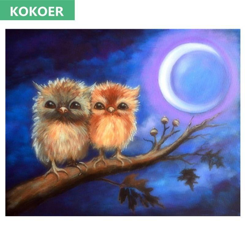 5D Diamond Painting Two Fluffy Owls Kit