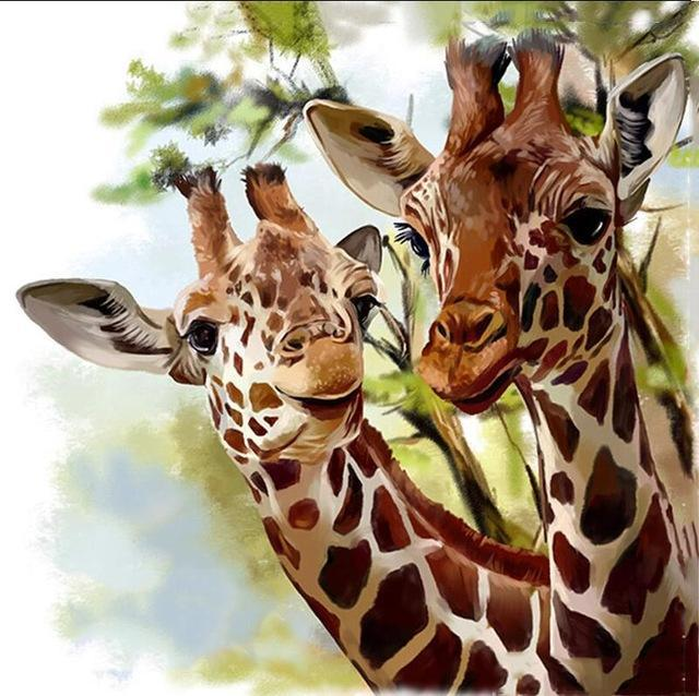 5D Diamond Painting Two Giraffes Kit