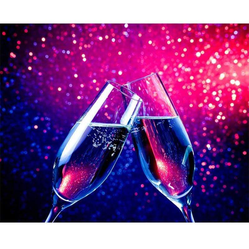 5D Diamond Painting Two Glasses of Sparkling Champagne Kit