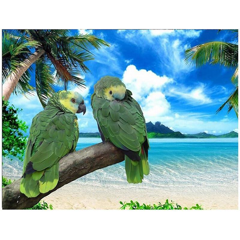 5D Diamond Painting Two Green Parrots on a Branch Kit