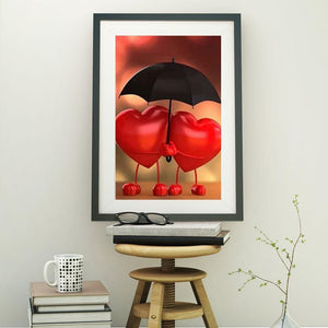 5D Diamond Painting Two Hearts Umbrella Kit