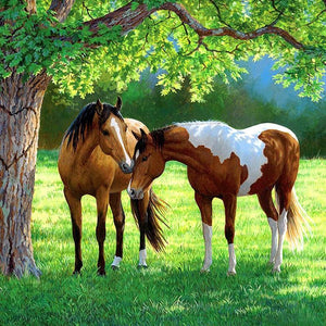 5D Diamond Painting Two Horses under A Tree Kit