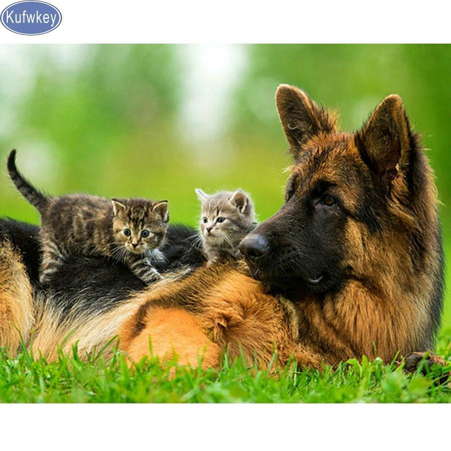 5D Diamond Painting Two Kittens and a German Shepherd Kit