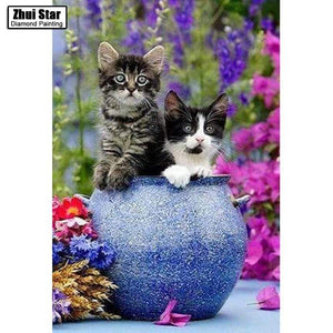 5D Diamond Painting Two Kittens in a Blue Pot Kit