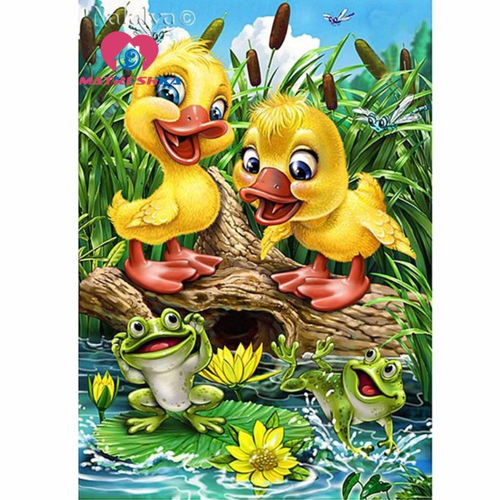 5D Diamond Painting Two Little Ducklings Kit