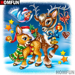 5D Diamond Painting Two Little Reindeer Kit