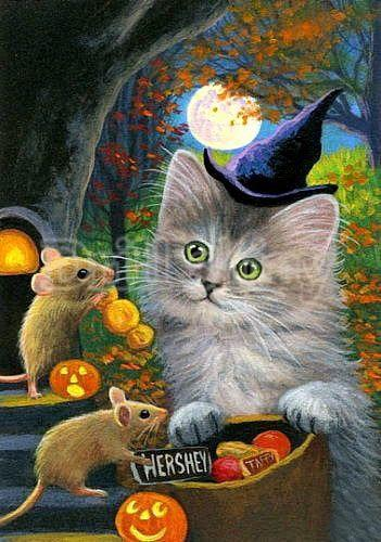 5D Diamond Painting Two Mice and a Witch Cat Kit