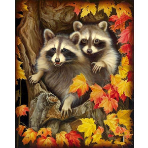 5D Diamond Painting Two Raccoons in a Tree Kit