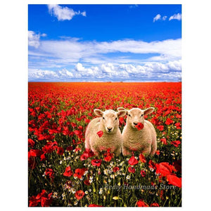 5D Diamond Painting Two Sheep in a Field of Flowers Kit