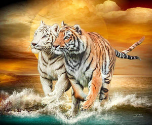 5D Diamond Painting Two Tigers in the Sea Kit
